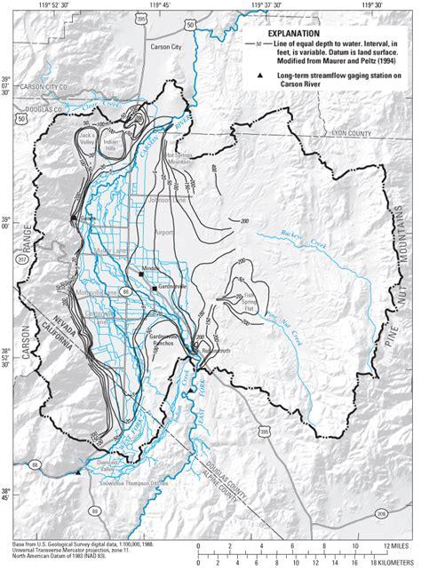 nevada water table depth precipitation and runoff simulations of the carson range