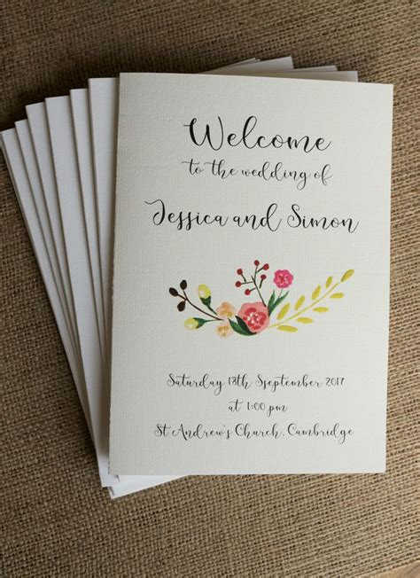 order of service with ribbon printed insert honeytree wedding