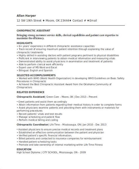 chiropractic assistant resume sle chiropractic resume template 6 free word documents