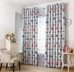 Boys Window Curtains Car Printed Blackout Window Sheer Curtains For Boys Living Room Bedding Room