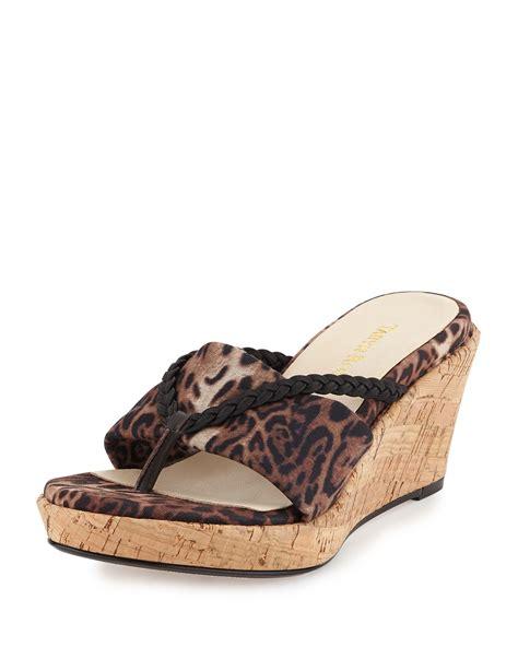leopard print wedge sandals keely leopard print wedge sandal lyst
