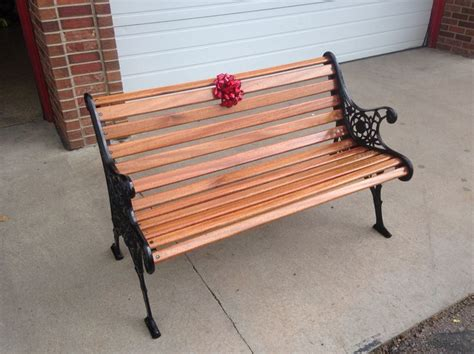cast iron bench with mahogany wood slats my projects