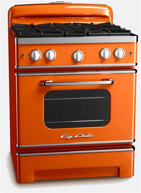 stoves kitchen appliances vintage inspired retro stove orange contemporary