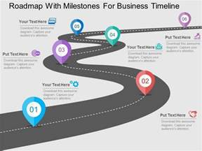 Magnifying Glass With Light Roadmap With Milestones For Business Timeline Flat