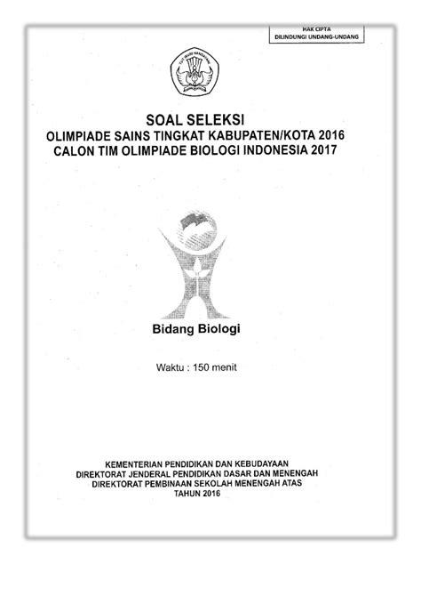 Soal OSK Biologi SMA 2016