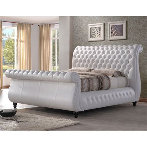 white king size bed sawn white real leather finish super king size bed 22866