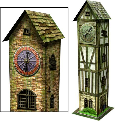 clock tower paper model dave graffam models