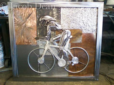 Hand Crafted Cyclist Relief Abstract Backdrop, Fabricated