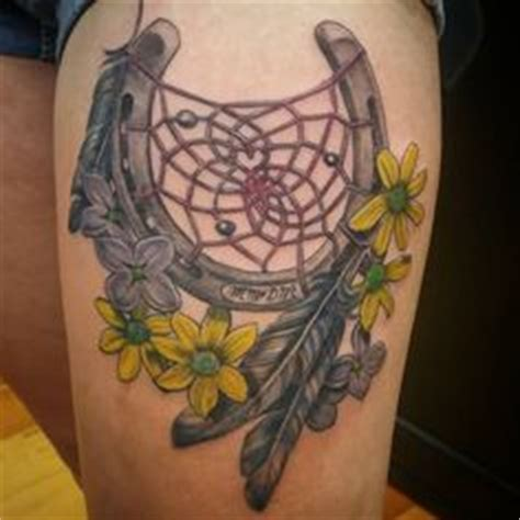 horseshoe dreamcatcher tattoo ko studio shoe feather