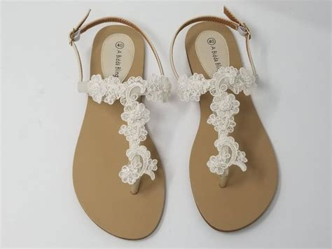 Lace Sandals Wedding by Ivory Wedding Sandals With Lace And Pearls Ivory Wedding
