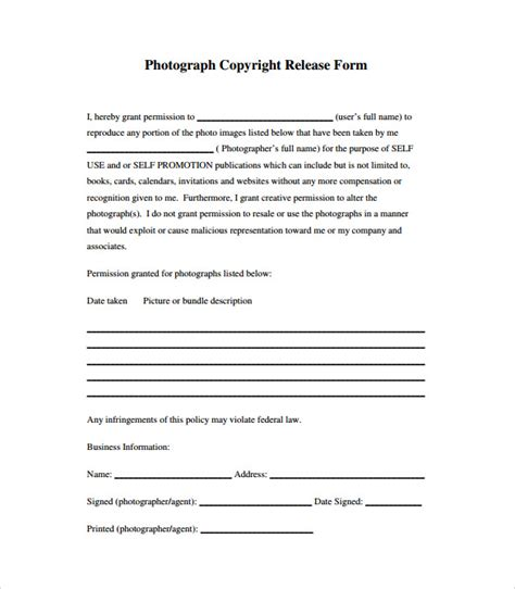 image release form template image release form 17 free documents in pdf