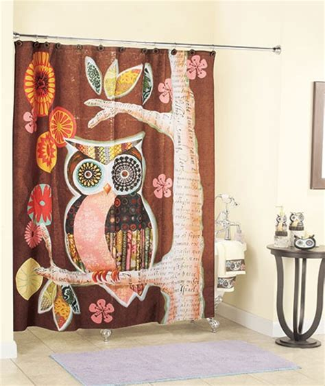 owl shower curtain owl friend brown retro modern geometric shower curtain ebay