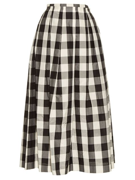 Mischa Gingham by Rochas Gingham Pleated Midi Skirt In Black Lyst