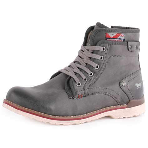 mustang 4061 602 mens synthetic grey ankle boots new