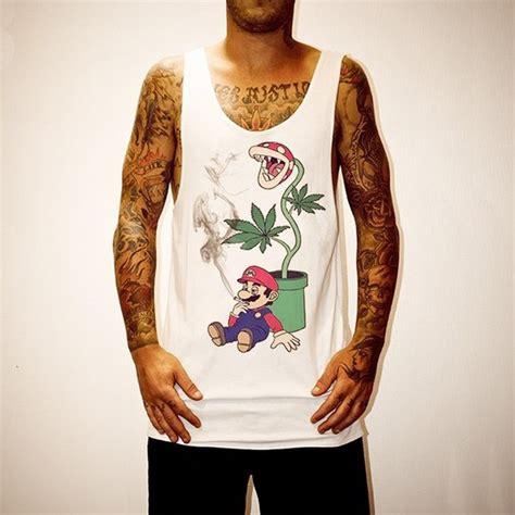 Singlet Mario 1 marijuana leaf where to get this style wheretoget