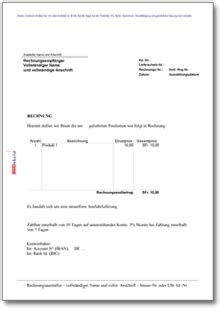 Rechnung Ausfuhr Schweiz Rechnung Anschreiben Export Muster Vorlage Zum