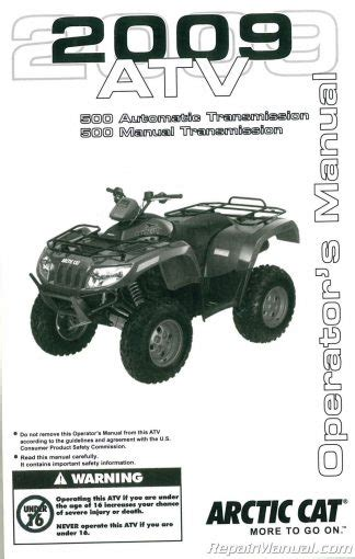 2009 Arctic Cat T 14 150 Utility Atv Owners Manual