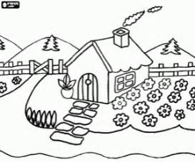 Country House With Garden Coloring Page sketch template
