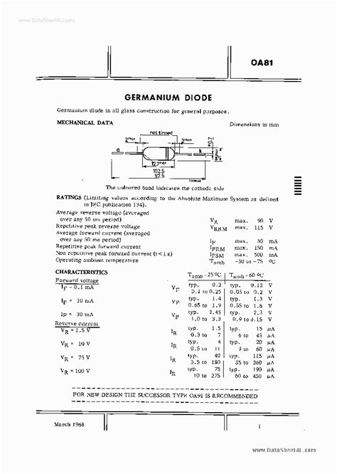 1n34a germanium diode data sheet germanium diode list images