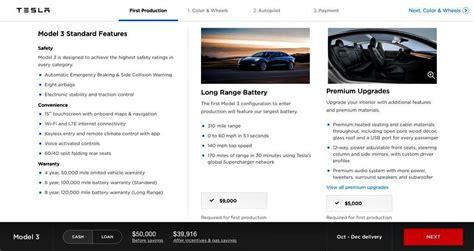 tesla model 3 upgrade options tesla model 3 design studio 49 000 for production