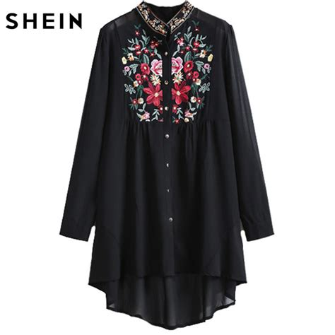 Fashion Collar 1 shein tops fashion stand collar sleeve floral embroidered dipped hem european brand