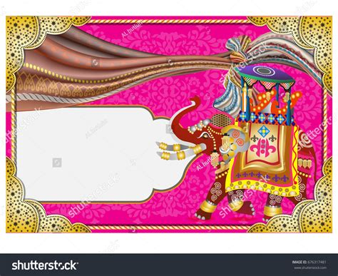 indian wedding invitation background templates vector illustration indian wedding invitation card stock vector 676317481