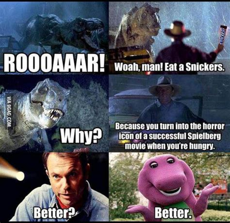Snickers Meme - barney eat a snickers 9gag