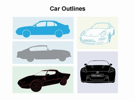 automobile themes for ppt car outlines template