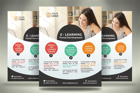 e learning flyer flyer templates creative market