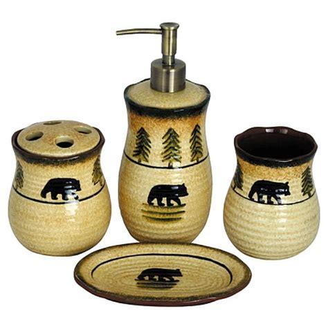 bear bathroom accessories lodge bear bath accessories set