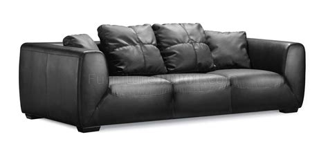 black full leather contemporary sofa  oversized cushions