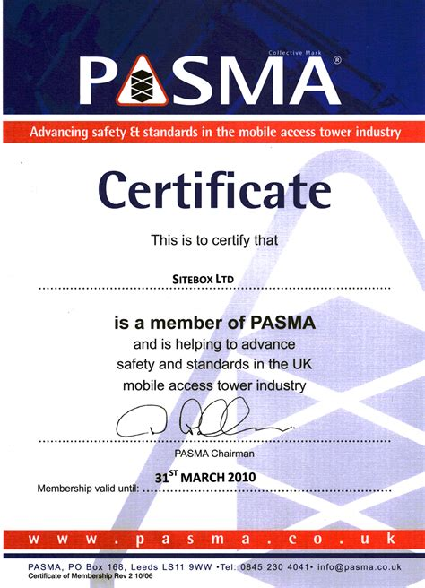 Competent Person Card Template by Pasma Information