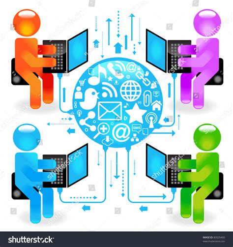 Free Email Search For Social Networks Social Network Communication In The Global Computer Networks Stock Vector