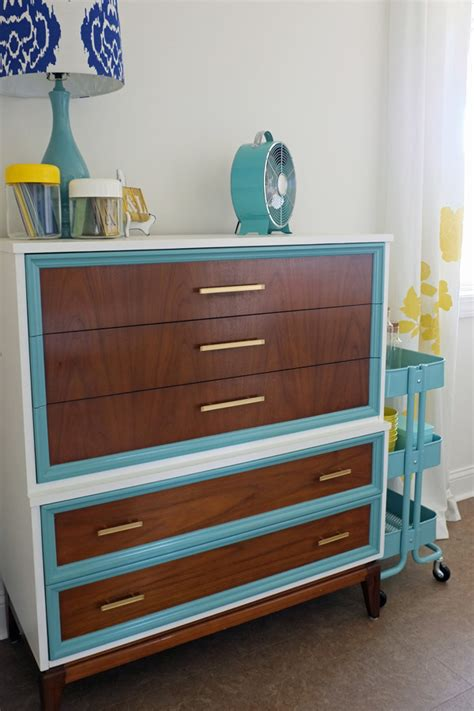 Colored Dresser by Diy Tri Color Dresser Makeover Teal And Lime By Jackie