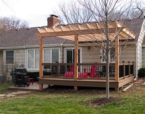 patio ideas 1280x960 archadeck of kansas city decks screen boothe cedar pergola over composite deck traditional