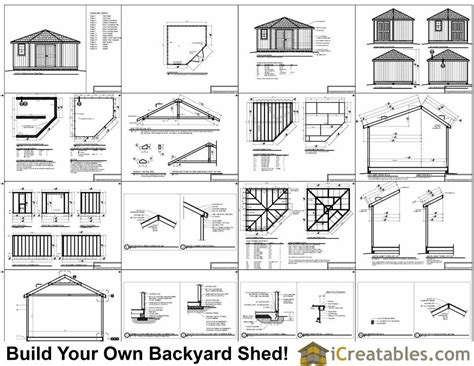 free building plans 14x14 5 sided corner shed plans