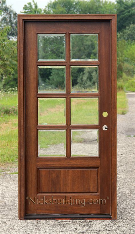 Exterior Mahogany Single Doors Wood Glass Exterior Doors