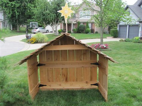 cedar nativity stable creche wood large xmas blowmold star