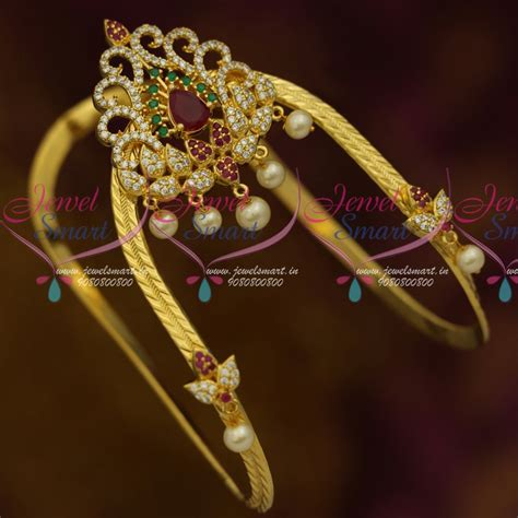 Rubies Bajuband ar11448 traditional south indian arm jewellery vanki bajuband ad stones ruby emerald white