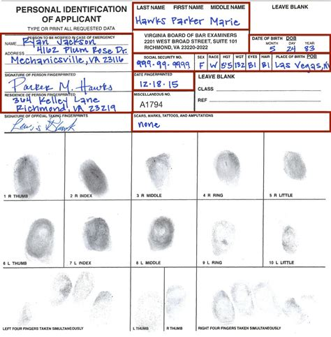 Fingerprint Card Template Pdf by Vbbe Miscellaneous Forms