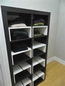 expedit in the closet with half shelf inserts ikea