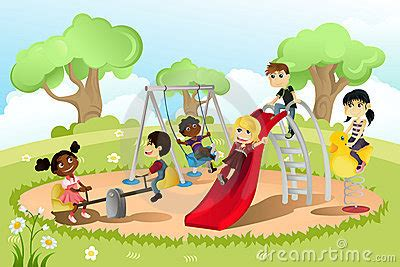Swinging In The Backyard Children In Playground Royalty Free Stock Image