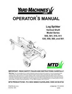 24aa510a022 Mtd Yard Machines 21 Ton 5 Hp Log Splitter