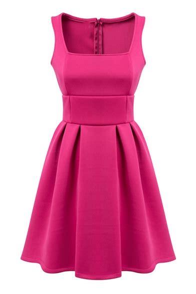 Plain Tank Dress plain square neck tank dress with skirt and zip back