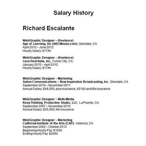 salary history template 6 download free documents in