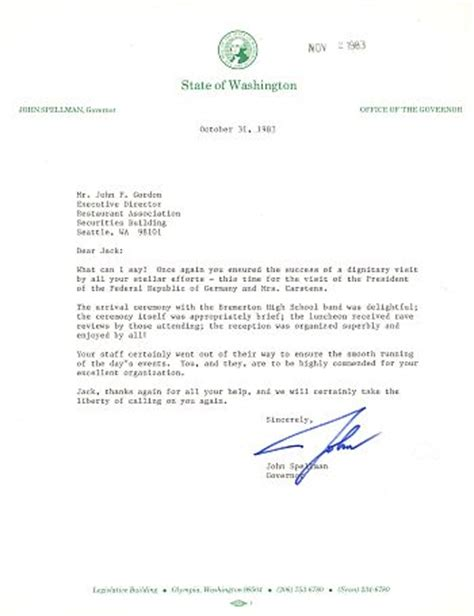 Thank You Letter To In German Jackgordon Org President Of West Germany Karl Carstens