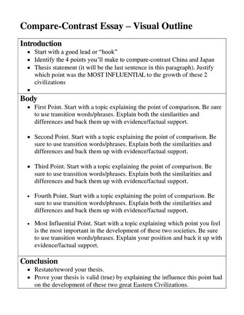 Compare And Contrast Exle Essay by Compare And Contrast Essay Obfuscata
