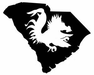 Usc Gamecock Outline by South Carolina Detailed State Silhouette With Gamecock Cut