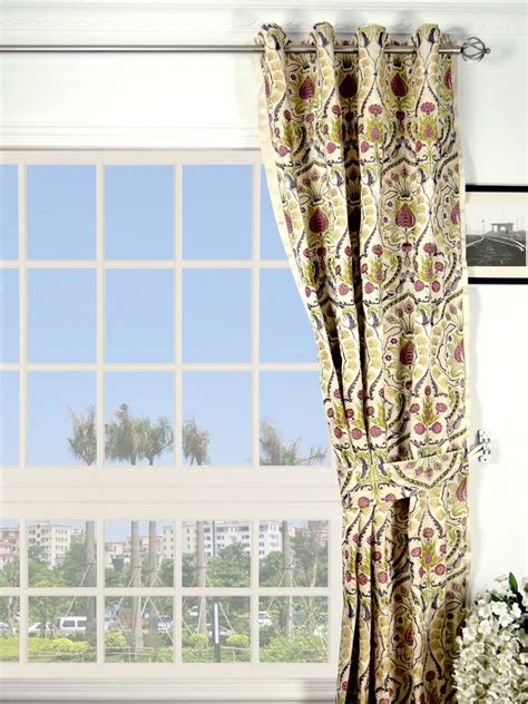 beachside curtains silver beach embroidered colorful damask grommet faux silk