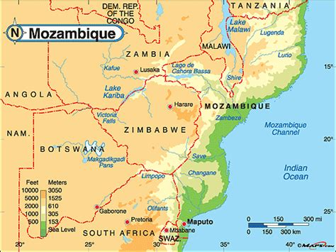 physical map of mozambique mozambique physical map by maps from maps world